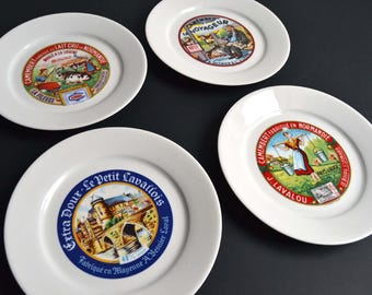 Set of 4 Vintage French Cheese Plates Serving Porcelain Plates From Limoges President Apilco Yves DESHOULIERES : cheese plates set - pezcame.com