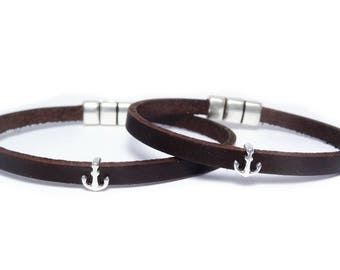 2 Anchor Couple bracelet his and hers Anchor bracelet Leather bracelet Mens leather bracelet Couple bracelets Anniversary gift Nautical gift