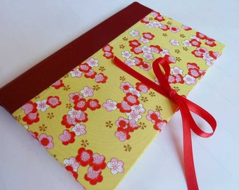 SALE + Free Shipping -- Handbound Journal featuring yellow Japanese chiyogami covers