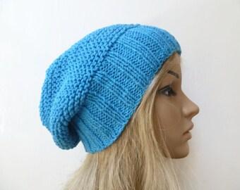Blue Cotton Slouchy Beanie, Hand Knit Beanie, Women Slouch Hat, Cotton Slouch, Women Cotton Beanie, Summer Eco Cotton Hat, ClickClackKnits