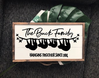 Family established wood sign, sloth, sloth sign, family sloth, family established sign, family est sign, custom family sign, sloth gift