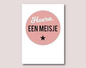 New baby girl card, New born girl card • Hello, baby girl