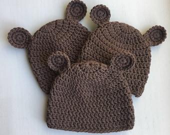 Handmade crochet bear hat for newborns, babies and toddlers