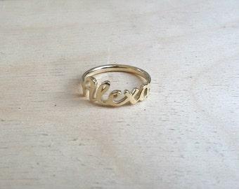 Gold Name Ring 14K Solid Gold, Rose Gold Ring, White Gold Ring, Name Ring, 14k gold ring, 14k gold name ring