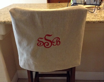 Monogrammed Chair Back Cover Natural Linen Washable Fabric Kitchen Cottage Chic