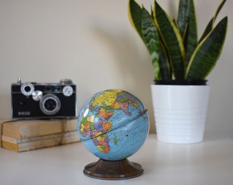 Small Metal Globe Bank / Vintage Home / Antique / Colorful / Traveler Decor / Adventure Decor / Wanderlust / Globetrotter / Library Decor