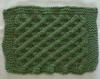 Hand Knit Sage Green Dishcloth - measures approximately 71/2x8 inches