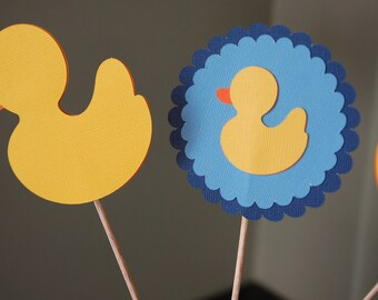 Rubber Duck Centerpiece, Rubber Duck Baby Shower, Boy Baby Shower, Duck Theme, Rubber Duck Theme, 9 Pcs