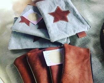 Pouch natural linen & leather made mains/femme/accesoire/unique/personnalisation/etsy.com/your/shops/Feemains24