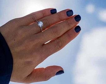 Engagement Ring 2.49 Carat DIAMOND Engagement Ring, Round Brilliant Cut, 14K White Gold, Round Diamond,Pave Diamond Ring,Unique Diamond Ring