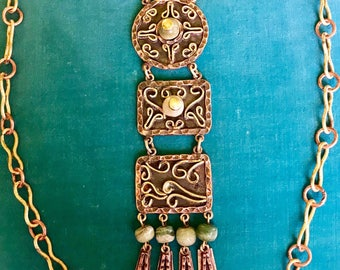 Vintage Mexican Mixed Metal Copper/Brass Green Agate 1950's Pendant Necklace
