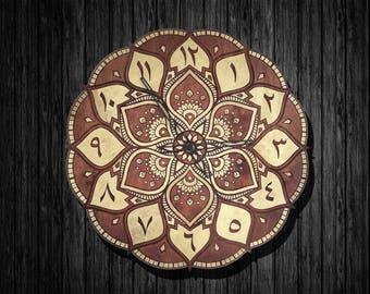 Mandala clock 24 inch (61 cm) - arabic style (wooden) - different colors