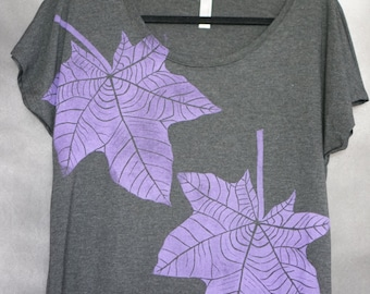 Women's Blouse, Charcoal, with Two Block Printed Lavender Kukui (Hawaiian Tree) Leaves