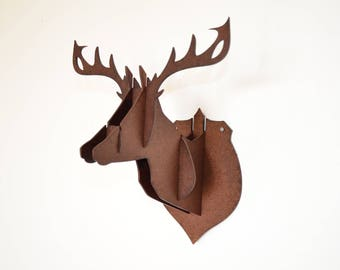 Deer trophy head wall wood