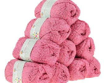 10 x 50g knitted yarn wool cotton Symbiosis #34 Pink