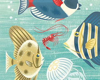 Scenic tropical sea life featuring a batfish in mid century modern style - art print by Pieter M. Dorrenboom
