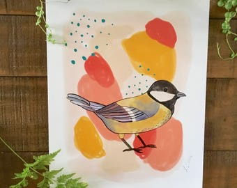 Abstract art print,  birds, titmouse bird, watercolor painting, illustrated,  archival,  design