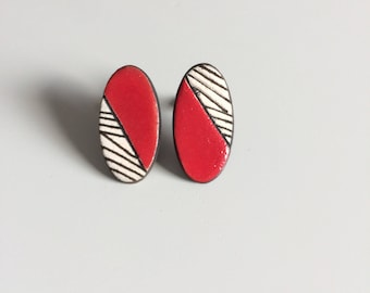 Earrings graphic, red ceramic, earrings, red, graphic