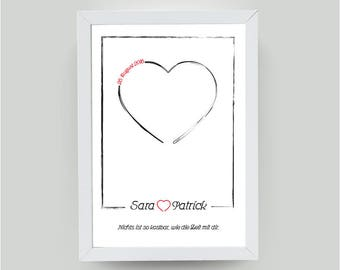 DIN A4-Personalized picture, Heart, love gift, wedding gift, nicer with your name, date + dedication