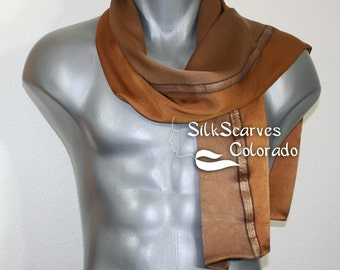 Unisex Silk Scarf. Men, Women Scarf. Terracotta, Taupe, Brown Hand Painted Scarf TOBACCO LEATHER Size 11x60. Anniversary Gift. Birthday Gift