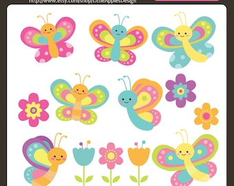 Butterfly Clip Art / Butterfly Clipart / Flower Clipart / Flower Clip Art  / Bugs Clipart / Bugs Clip Art / Commercial & Personal