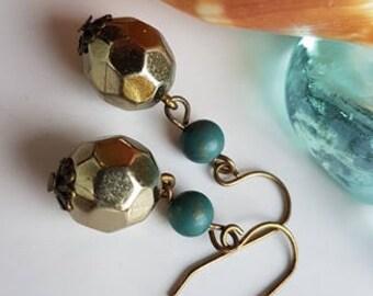 Antique Brass Tear Drop Dangle Earrings