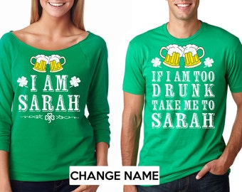 Funny Tees For St Patrick's Day Party St Patricks Day T-shirt Photo Shoot Idea CUSTOMIZABLE Couple Tee Shirt Mathing GREEN COLOR 54D7P4QFf
