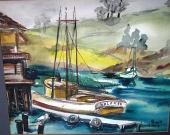 Vintage 1970's  Watercolor Shrimp Boat Painting, Boat, Ship, Galveston Texas, Valorie, Nautical Decor Watercolor