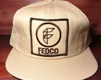 Vintage Fedco white snapback trucker hat