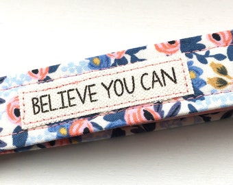 Rifle Paper Co Key Chain Wristlet Rosa in Periwinkle Key Fob with Message Unique Wristlet
