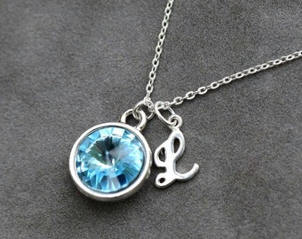 March Birthstone Necklace, Personalized Initial Jewelry, Aquamarine, Gift for New Mom, Mothers Day