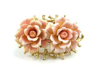 Vintage Judy Lee, Rose Brooch, Pink Flowers, Gold Tone, Signed