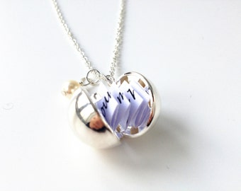 ball locket,secret message locket,secret message necklace,keepsake necklace,locket necklace