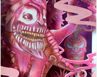 Dazzle Tunnel Book, Tunnel Book, Shadow Box, Dazzle Drawing, Original Art, Original Colored Pencil Drawing, Dota2, Dota2 Hero