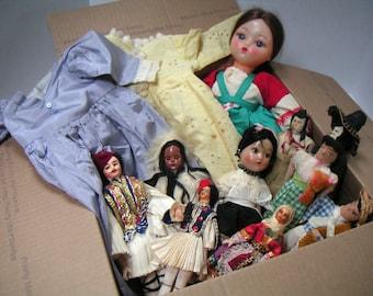 Vintage Dolls and Doll Dresses. Box of Dolls and Doll Dresses. TWO Doll Dresses, NINE Dolls. FREE Shipping