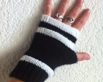 Black and white wool mittens handmade knitted seamless