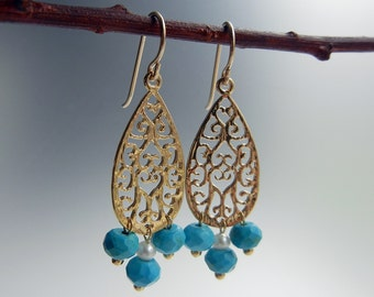 Turquoise and Pearl Dalia Earrings