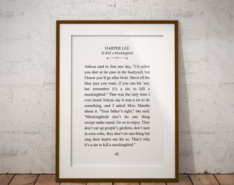 Harper Lee, Literature Digital Printable - Typography - 8x10  11x14 Wall Art Print - Instant Download
