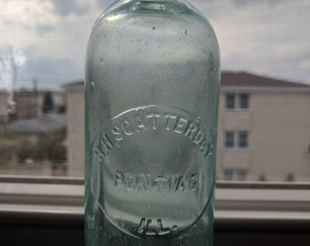 1880's Scatterday soda antique chicago bottle, good present or souvenir from chicago city