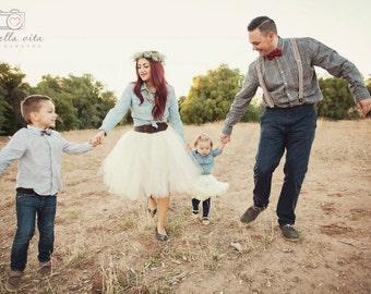Butter Cream - Custom Ivory tulle skirt - sewn layered tutu skirt - bridesmaid, bride, formal - short, knee, tea, midi, long length