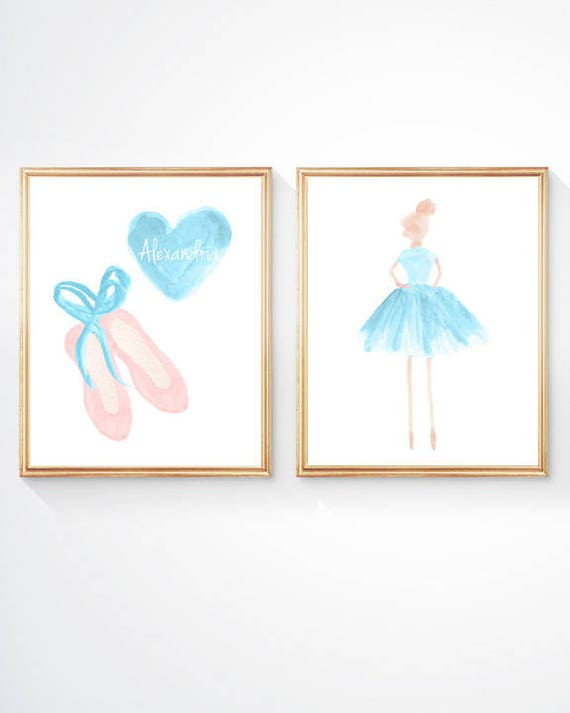 Turquoise Ballerina and Ballet Slippers, Set, 8x10 Set of 2 Prints