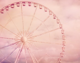 "Ferris Wheel Art - paris ferris wheel 11x14  girls wall art 8x10 whimsical prints 16x20 pink wall art 20x24 nursery canvas art ""Cotton Candy"