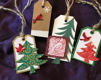 Red cardinal gift tags - Set of 4
