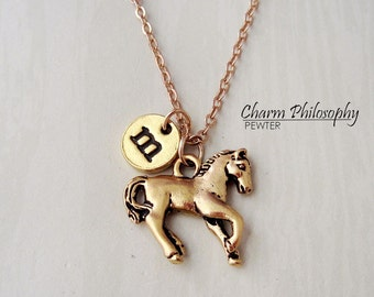 Gold Horse Necklace - Monogram Initial Necklace - Antique Gold Pewter Jewelry