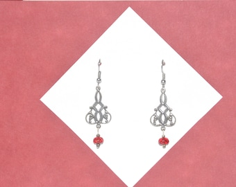 Earrings SIlver Filigree Red Crystal Victorian Vintage #B06b One Of A Kind