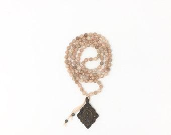 Moonstone Amulet Mala *  Hand knotted * 108 meditation Mala beads * Buddha Amulet