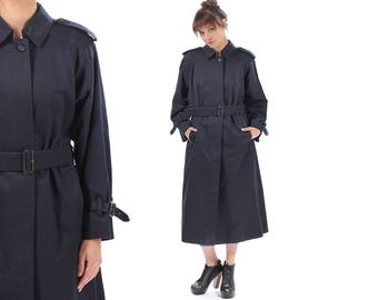 BURBERRYS Trenchcoat 1980s Navy Blue Belted Rain Trench Coat Long Topcoat Plaid Lining Raglan Sleeves Overcoat Retro Outerwear . Medium