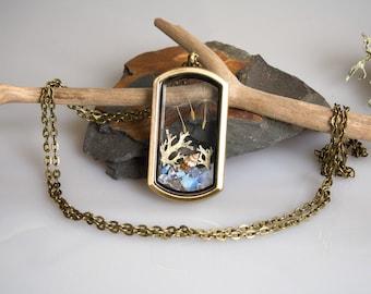Real Shell & Dandelion Necklace Locket Necklace Nautical Scenery Necklace Terrarium Jewellery Opalite Pebbles Luck Necklace Dandelion Bronze