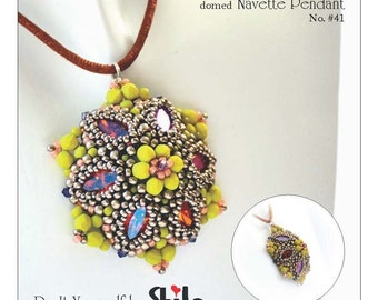 Domed Navette Pendant Step by step INSTANT download Pdf beading PATTERN No. #41