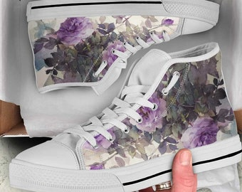 Rose converse, Rose Shoes, Rose High Top, Rose Custom Converse, Rose Custom Shoes